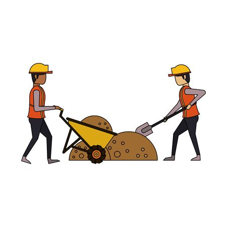 construction architectural engineering work, workers making heavy work in construction site cartoon vector illustration graphic design Foto de archivo - 134437809