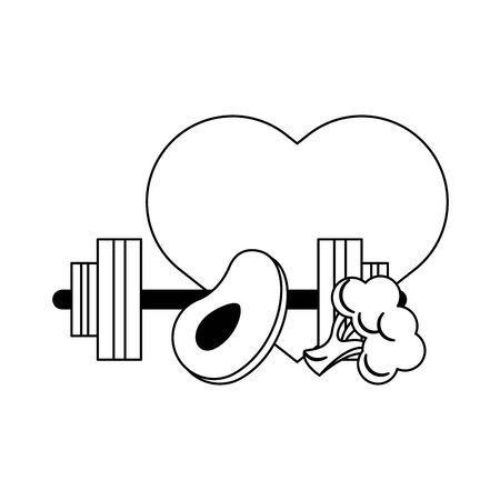 fitness sport heatlhy lifestyle, gym and healthydiet objects cartoon vector illustration graphic design Foto de archivo - 134437836