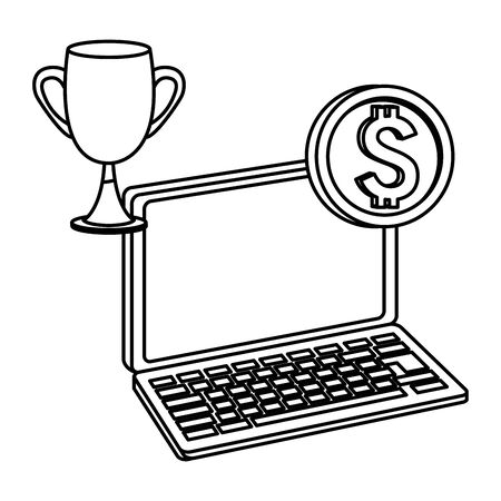 Office elements and business symbols laptop with coin and trophy cup ,vector illustration graphic design.