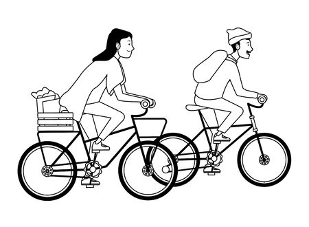 Young people with basket and backpack riding bicycles cartoon ,vector illustration graphic design.