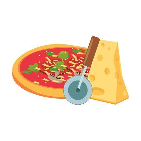 Pizza au fromage et cutter sur fond blanc, vector illustration