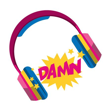 headphones and pop art design of damn word exclamation over white background, vector illustration