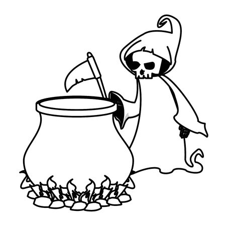 halloween witch cauldron pot with death costume vector illustration design
