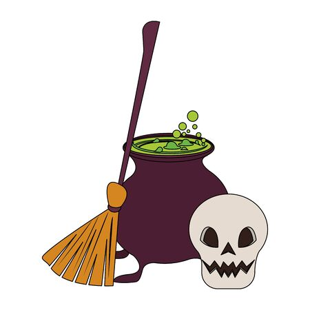 halloween october scary celebration, witch broom with cooking pot and skull cartoon vector illustration graphic design 일러스트