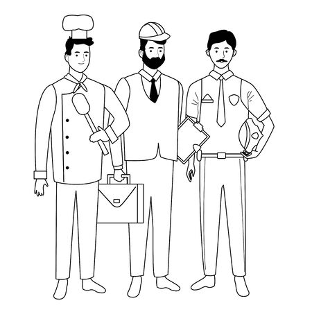 Professionals workers smiling with work tools cartoons ,vector illustration graphic design. Foto de archivo - 134437856
