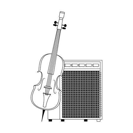 cello and Sound amplifier icon over white background, vector illustration