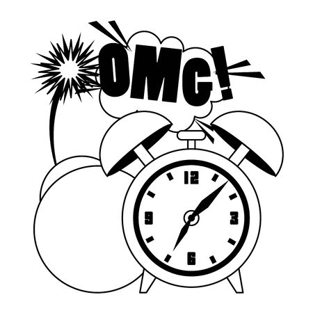 pop art design of alarm clock with a bomb and omg exclamation over white background, vector illustration Illustration