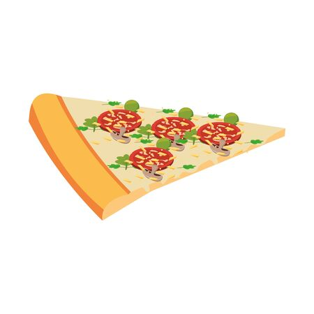italian pizza slice over white background, vector illustration