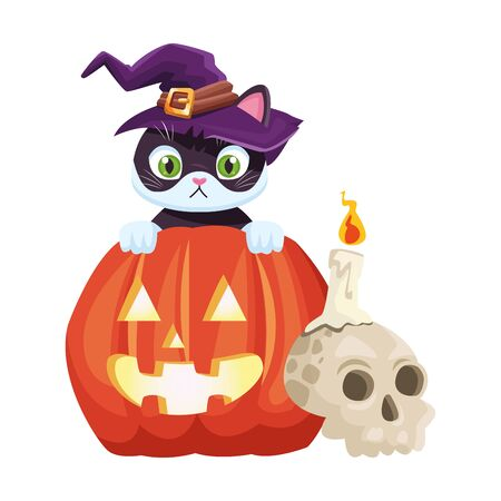 halloween pumpkin with little cat vector illustration design Foto de archivo - 134438310