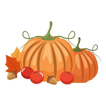 autumn pumpkin and fruits seasonal icons vector illustration design Foto de archivo - 134438317