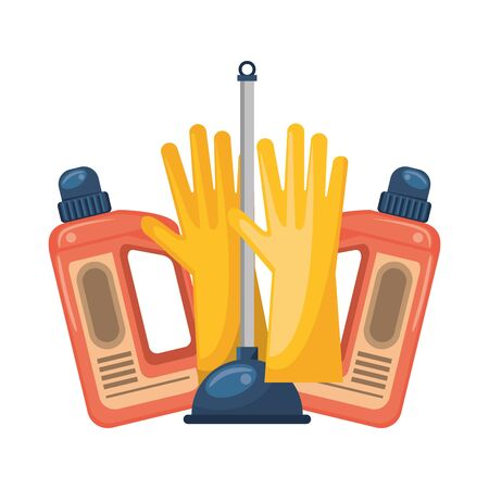 Cleaning equipment and products gloves and soap bottles with toilet pump vector illustration graphic design.