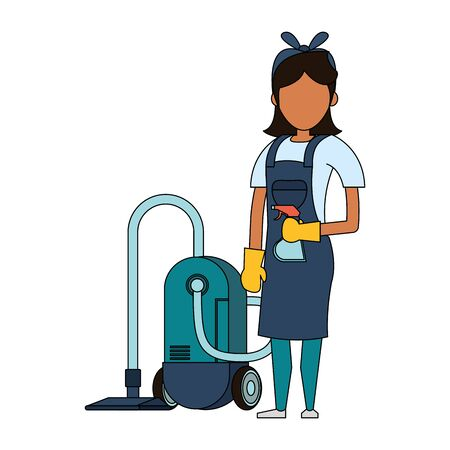 Cleaner woman worker with dustpan and disinfectant vector illustration graphic design. Foto de archivo - 134438822