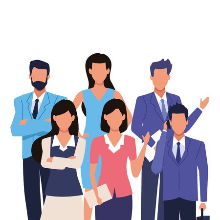 Executive business entrepreneur teamwork with documents ,vector illustration graphic design.