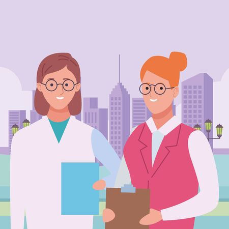 Professionals workers doctor and secretary smiling cartoons in the city urban scenery ,vector illustration graphic design. Illusztráció
