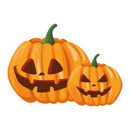 halloween pumpkins with faces icons vector illustration design Foto de archivo - 134438862