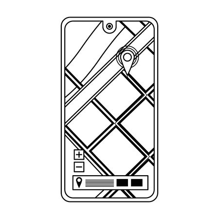 smartphone mobile technology device with gps location map cartoon vector illustration graphic design