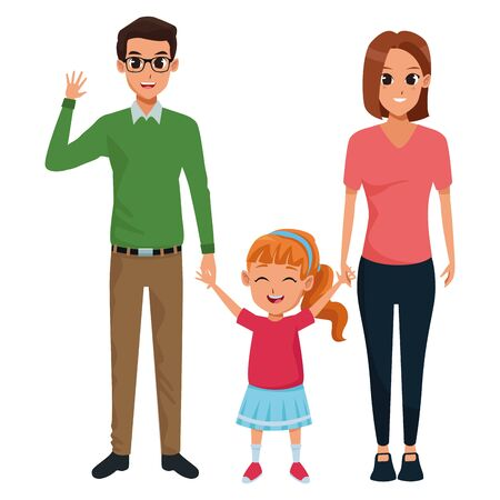 Family dad and mom with little daugther vector illustration graphic design