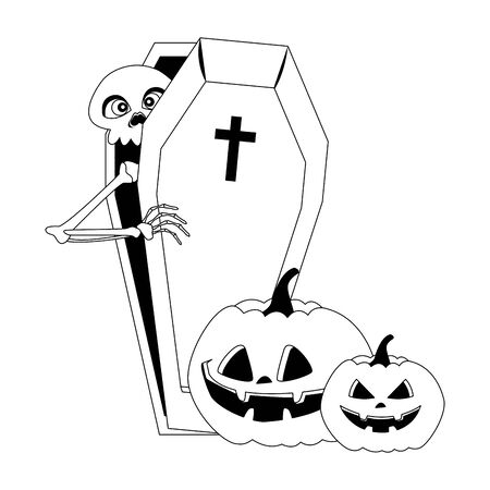 halloween pumpkins with skeleton in coffin vector illustration design Foto de archivo - 134439121