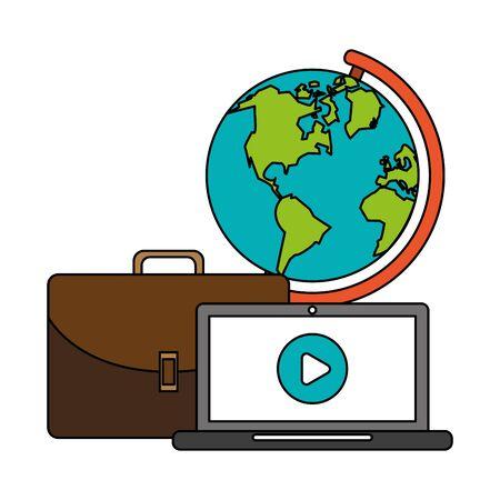 technology digital modern hardware, laptop computer with media player work cartoon vector illustration graphic design