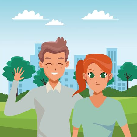 Young couple boyfriend and girlfriend smiling and greeting at city park vector illustration graphic design