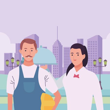 Professionals workers pumbler and waiter with dish smiling cartoons in the city urban scenery ,vector illustration graphic design.
