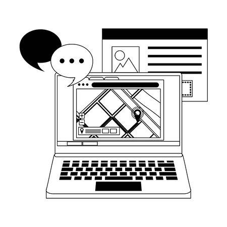 laptop technology hardware with gps location map and speech bubbles cartoon vector illustration graphic design Ilustração