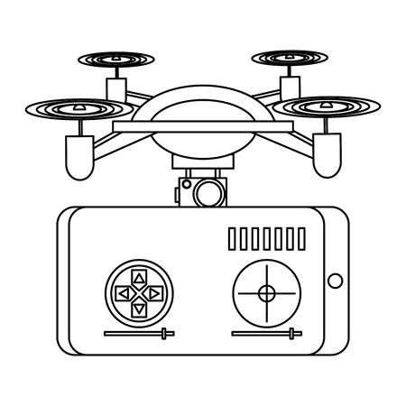 air drone remote control technology black device cartoon vector illustration graphic design