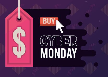 cyber monday day poster with tag vector illustration design