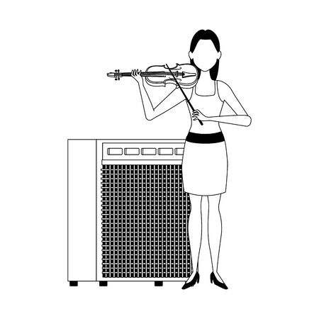 cartoon woman with a violin and sound amplifier over white background, vector illustration
