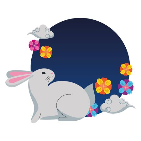 Rabbiy with flowers and clouds on round icon ,vector illustration graphic design.