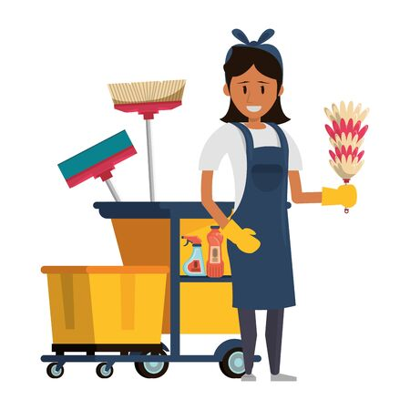 Cleaner worker with cleaning products in cart equipment vector illustration graphic design. Foto de archivo - 134290685