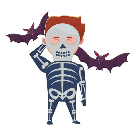 man with halloween skull costume and bats vector illustration design Illustration