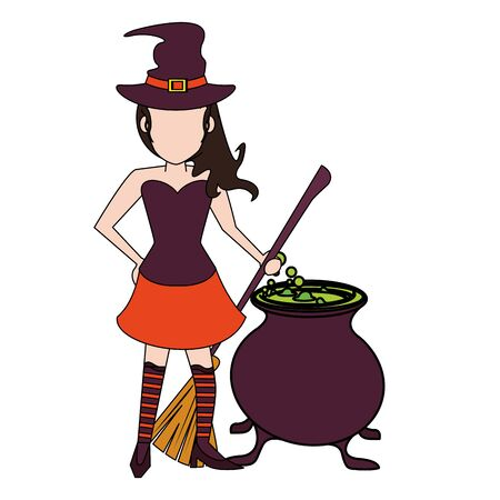 halloween october scary celebration, witch with broom and cooking pot cartoon vector illustration graphic design