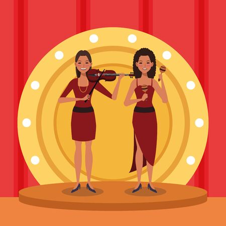 Jazz music band design with woman violinist and dancer in stage, colorful design. vector illustration Ilustrace