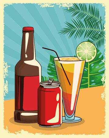 beer bottle with soda can and tropical cocktail over tropical leaves and retro style background, colorful design , vector illustration