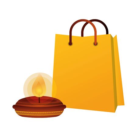 happy diwali candle with shopping bag vector illustration design Illustration