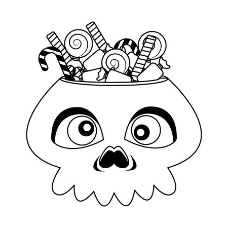 halloween head skull with candies vector illustration design
