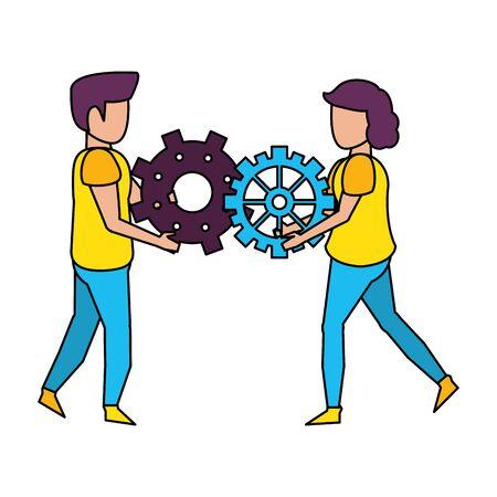 technology users making support and maintenance cartoon vector illustration graphic design Ilustração