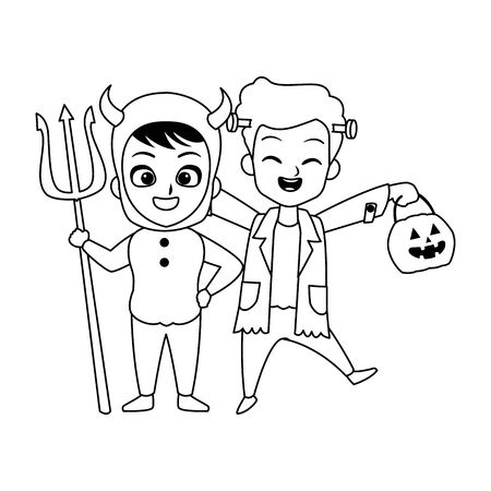 little boys with frankenstein and devil costumes characters vector illustration design