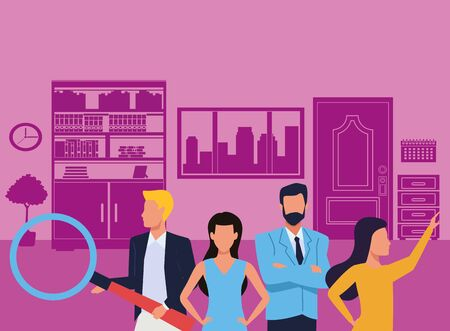 Group of business partners with business and symbols, executive entrepreneur teamwork inside office building scenery ,vector illustration graphic design. Çizim
