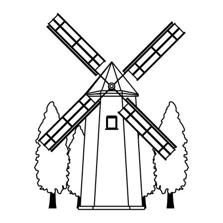 farm windmill and trees over white background, vector illustration Ilustrace