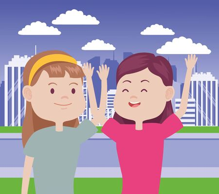 young women characters in the city vector illustration design Standard-Bild - 134486998