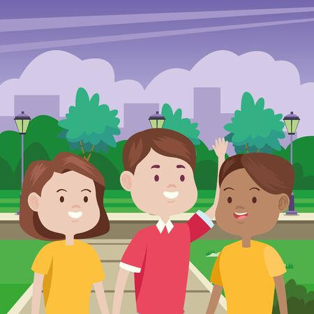 young people characters in the park vector illustration design Standard-Bild - 134487003