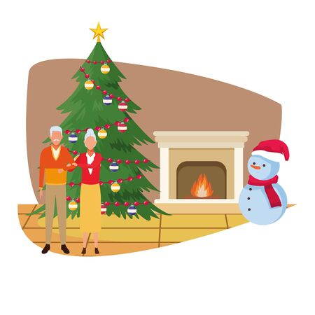 old couple standing next to christmas tree and snowman over white background, vector illustration Illustration