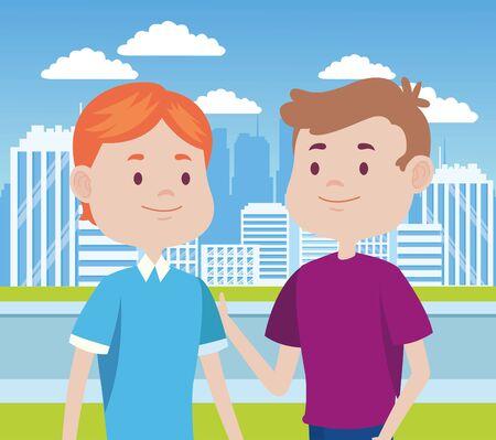 young men friends characters in the city vector illustration design Standard-Bild - 134487071