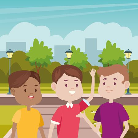 young people characters in the park vector illustration design Standard-Bild - 134487088