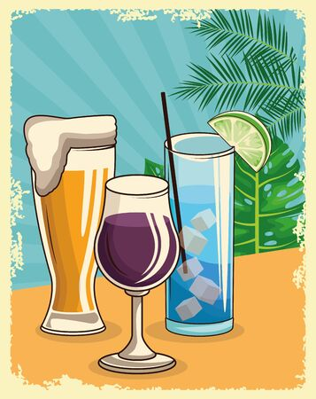 beer glass with wine glass and tropical cocktail over tropical leaves and retro style background, colorful design , vector illustration 向量圖像