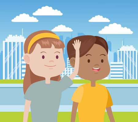 young women characters in the city vector illustration design Standard-Bild - 134488792