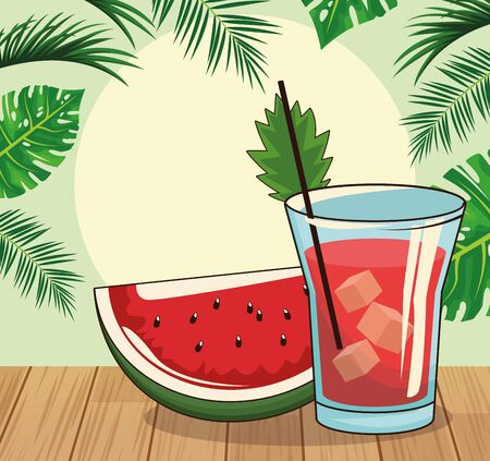 watermelon slice and cocktail over tropical leaves and retro style background, colorful design , vector illustration