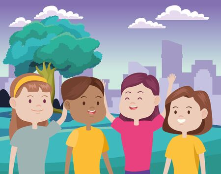 young women characters in the city vector illustration design Standard-Bild - 134489168